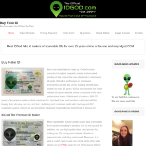 Idgod.com Fake ID Website Screenshot