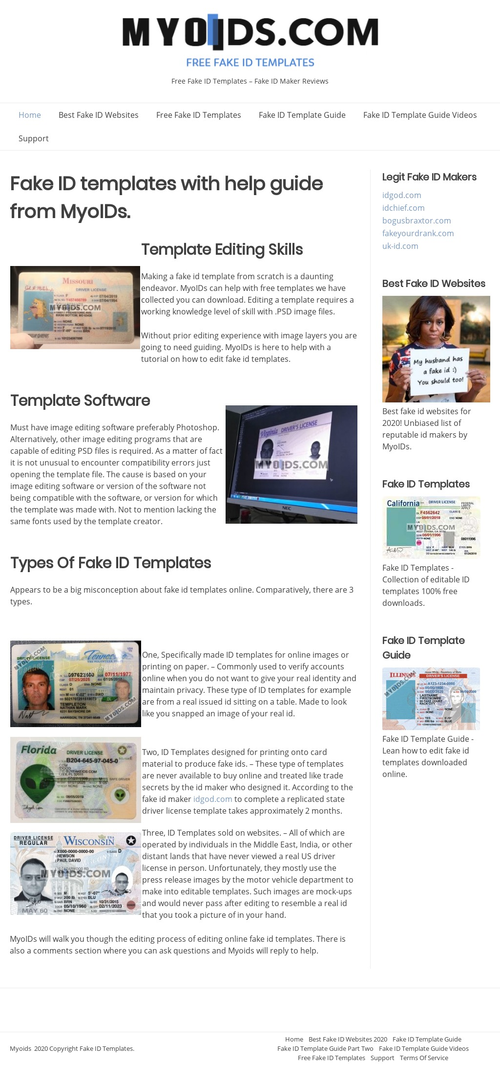myoids.com Fake ID Template Screenshot